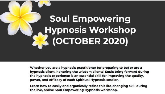 Soul Empowering Hypnosis Workshop